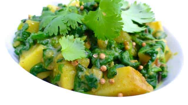 Aloo Palak Recipe Indian Spinach Potatoes Simple