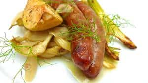 Well hey, how about some baked sausage today! It might look like a hearty winter oven dish but it's surprisingly light, crisp and fresh.