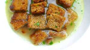 This is a cool soup: my German bread soup recipe! It's a hearty onion broth with buttery golden croutons: damn delicious so easy!