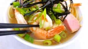 Prawn miso soup with noodles, spring onion and pork belly! What a savory Japanese style lunch... God, there's so much to do with miso paste!