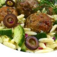 Greek Pasta Salad with Lamb Meatballs