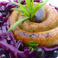 Spiced Red Cabbage with Veal Sausages