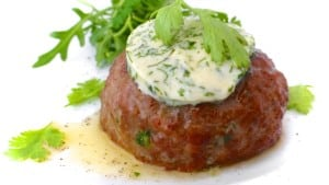 Look at that creamy cilantro lime butter melting on top of a homemade chili hamburger steak! This cilantro butter is so easy to make at home!