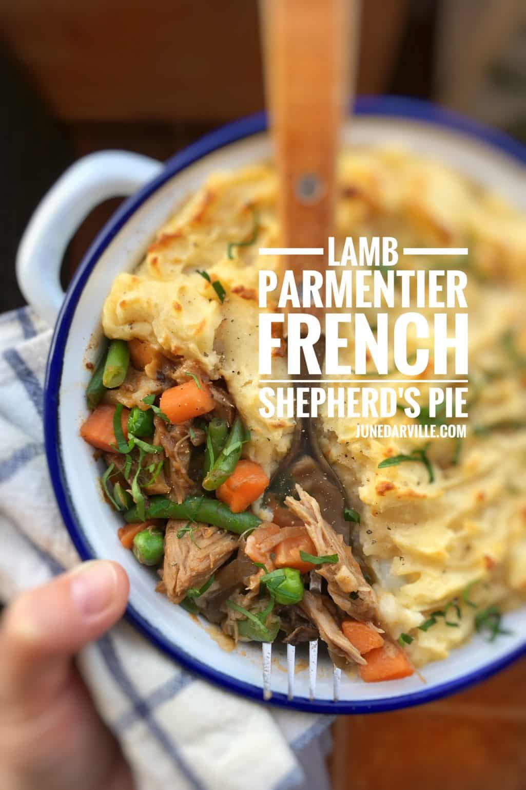 Get creative with leftovers! I turned last night's lamb shoulder into a hearty lamb parmentier for dinner: a French shepherd's pie!