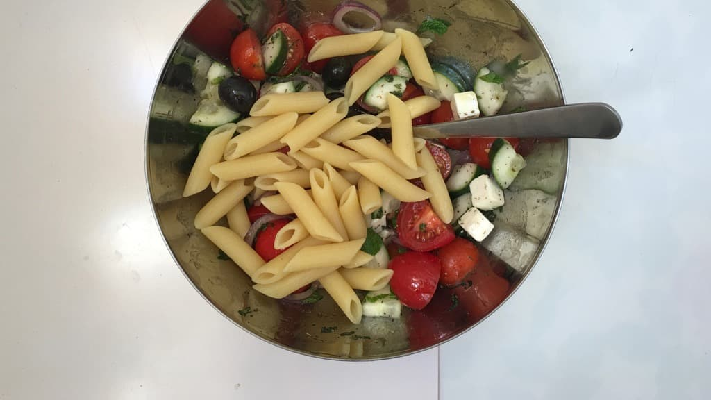 Leftover Greek salad in your fridge? Add cooked pasta and turn it into a quick lunch idea: try my Greek penne pasta salad recipe!
