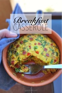 A thick oven baked omelet with bacon, grated cheese and colorful vegetables: this breakfast casserole is a great way to use leftovers!