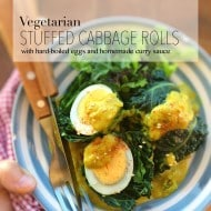 Vegetarian stuffed cabbage rolls with leftover hard-boiled eggs and a quick curry cream sauce... simple but perfect comfort food!