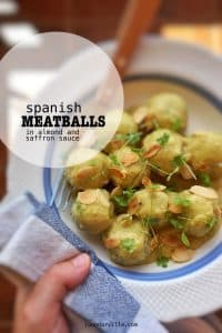 Spanish albóndigas en salsa de almendras or silky meatballs in almond sauce with saffron... A surprising meatball dinner!