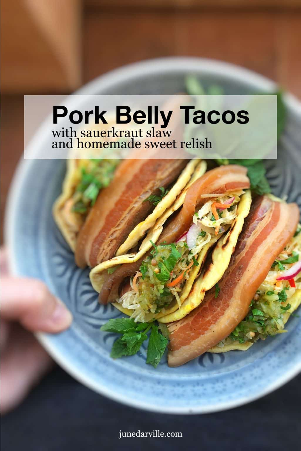 Beer and soy sauce braised pork belly tacos with a refreshing sauerkraut salad and a dollop of homemade sweet relish... To die for!
