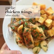 Garlic Chicken Wings with Fried Potatoes