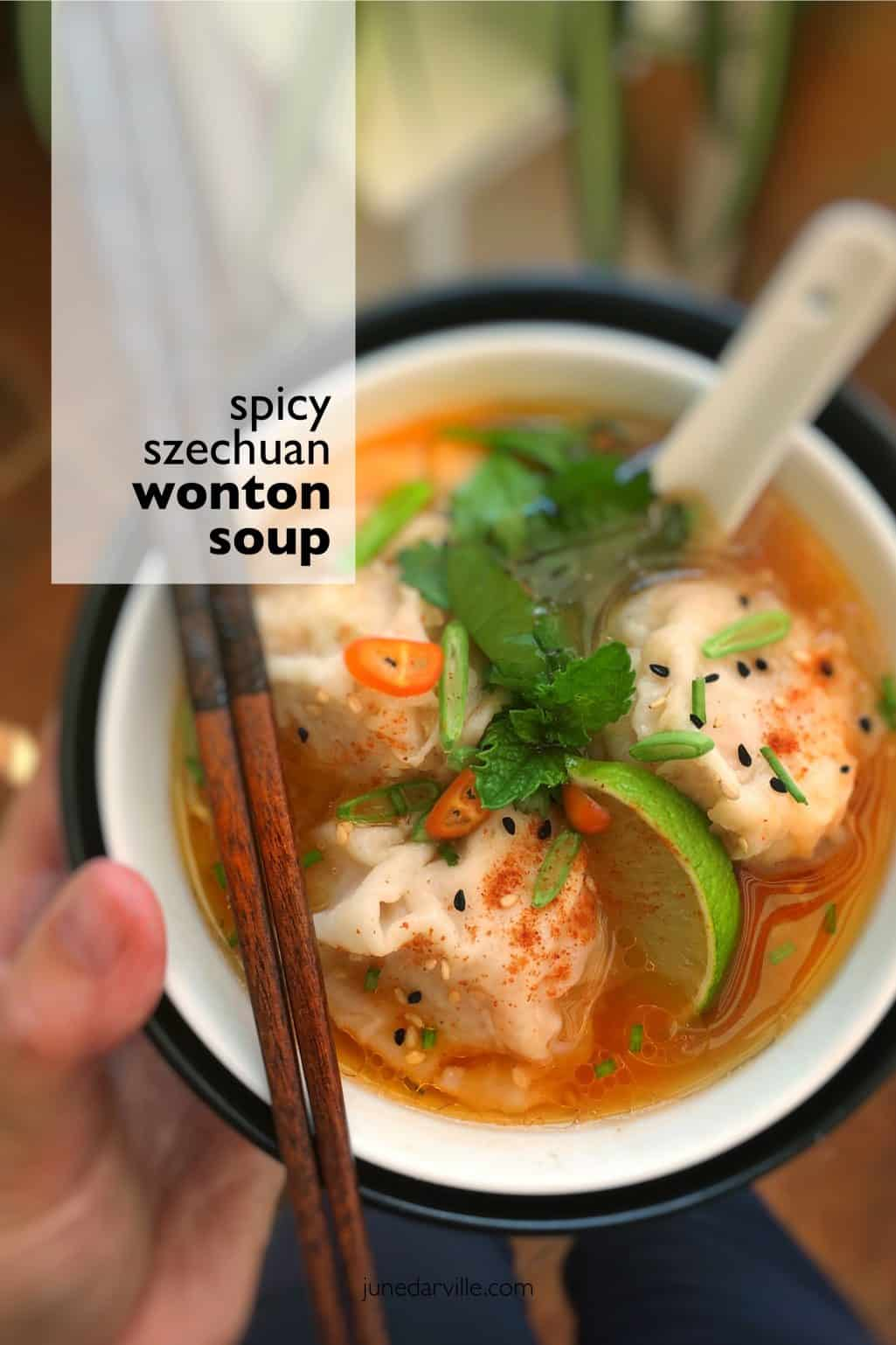Spicy Szechuan shrimp wonton soup! Chicken stock, hot chili sauce, sesame oil and lime juice... this soup is a hot flavor bomb!