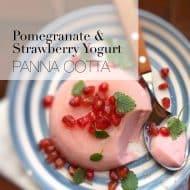 Strawberry Yogurt Panna Cotta with Pomegranate