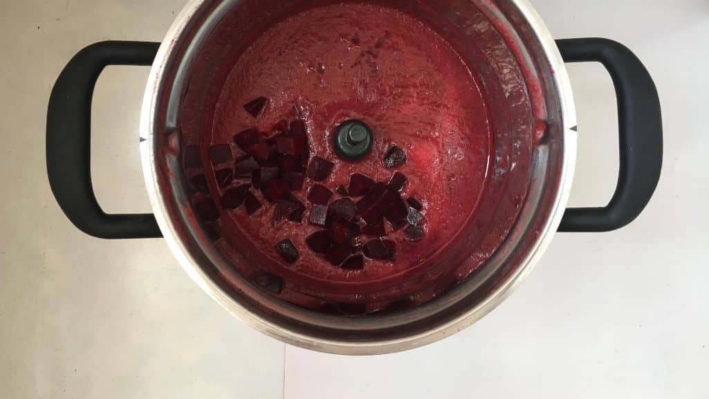 Silky smooth... just the way I like my beetroot soup! Beetroot with delicious sweet potatoes, balsamic vinegar and crumbled feta cheese!