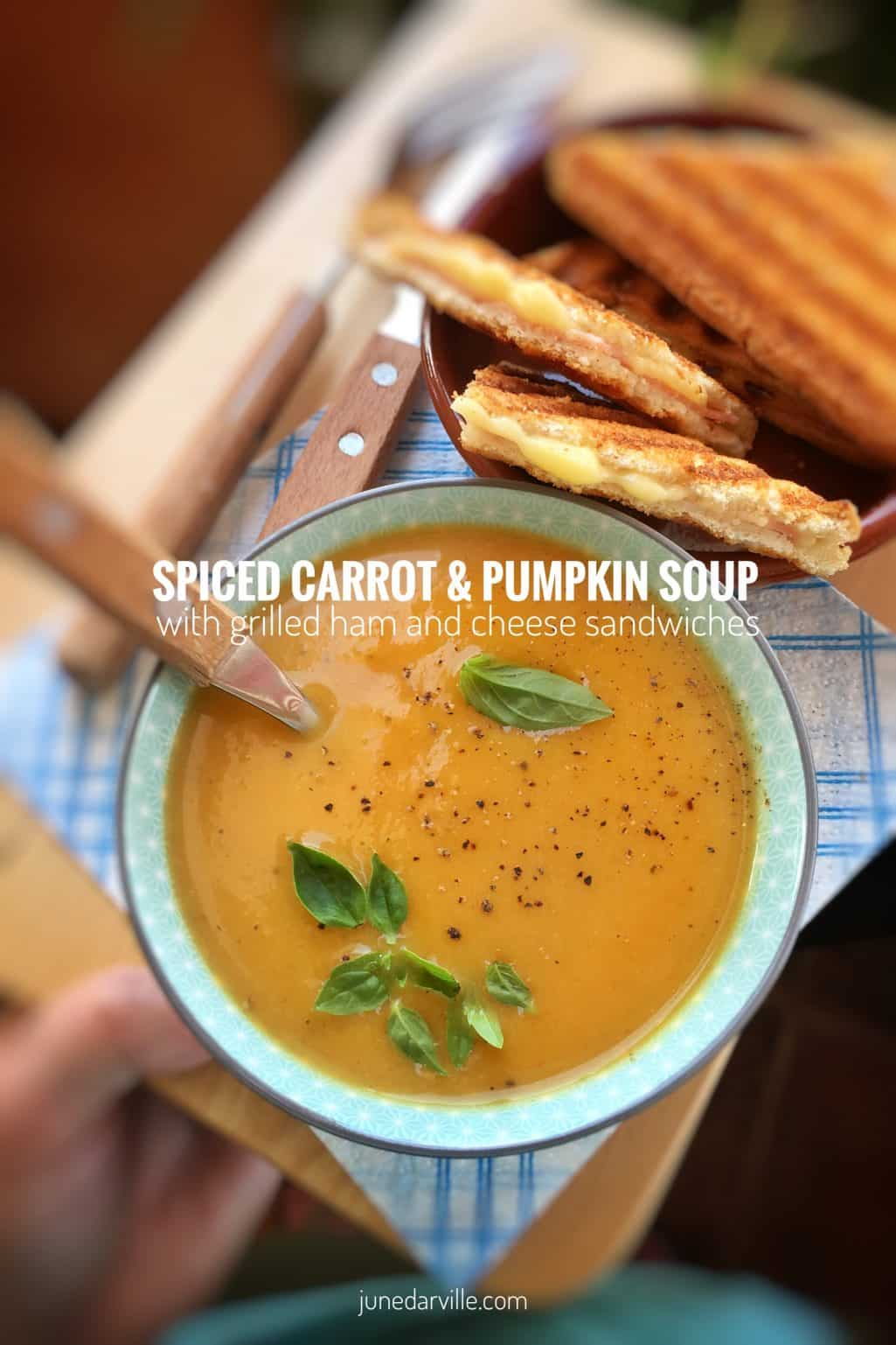 Silky smooth carrot pumpkin soup spiced with cloves and cinnamon, served with crunchy toasted ham sandwiches... perfection!