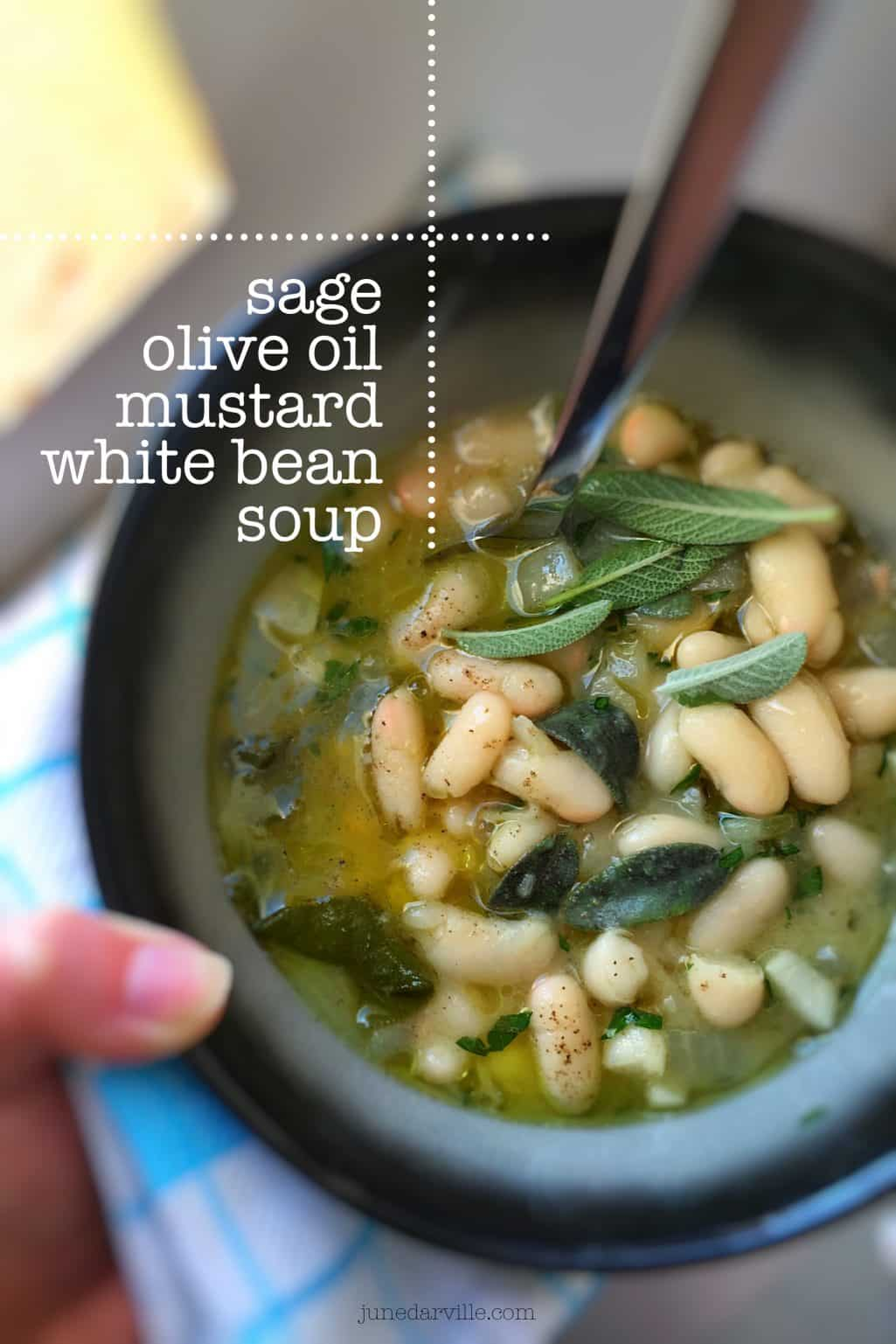 A dollop of strong mustard, fresh sage and a drizzle of olive oil is all this hearty white bean soup recipe needs to blow you away!
