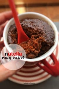 Here's a awesome sticky and sugary last minute snack or treat: try out this Nutella mug cake! Ready in less than 10 minutes...