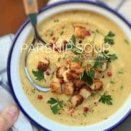 A bowl full of warm winter flavors: you will adore this apple and parsnip soup recipe with crunchy cinnamon croutons on top!