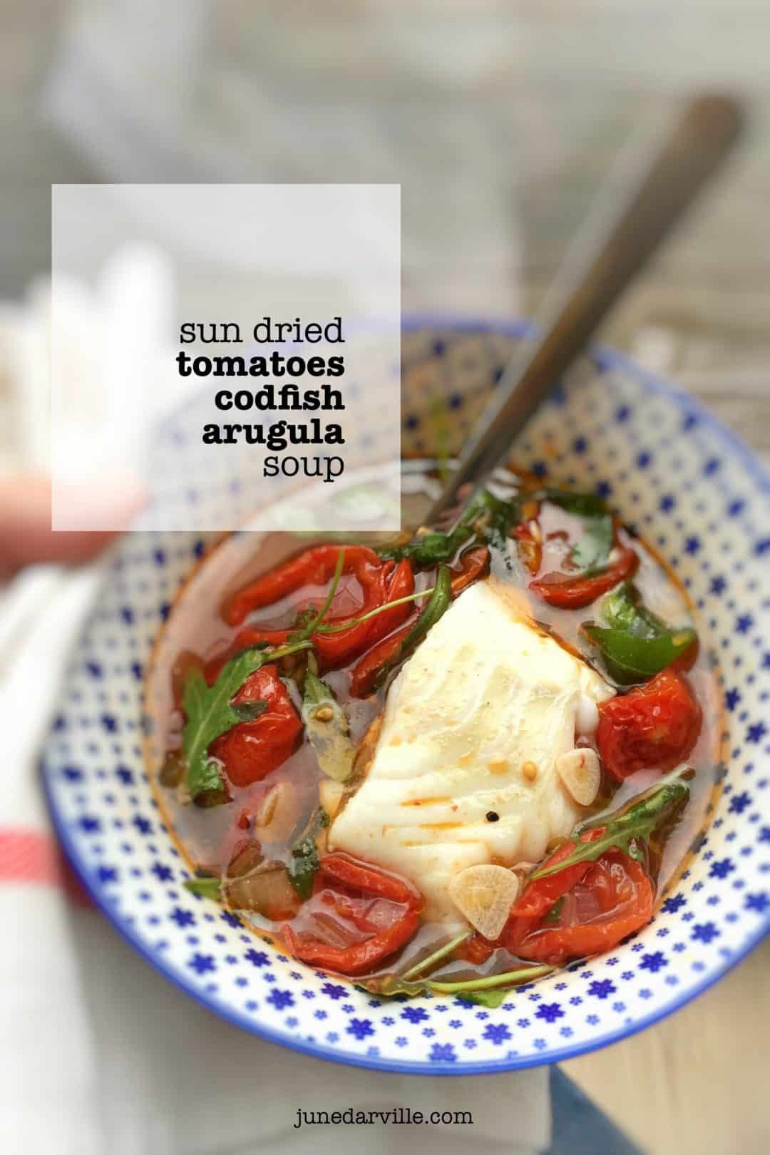 A 20-minute sun dried tomato soup recipe with fresh arugula and codfish... what a delicious lunch soup! Learn how to make sun dried tomatoes at home.