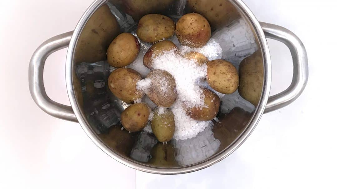 Papas arrugadas or wrinkly potatoes or boiled potatoes in a thick salt crust: a classic side dish from the Canary Islands!